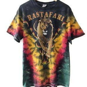 Vintage Tie Dye Rastafari Lion Jamaica Shirt
